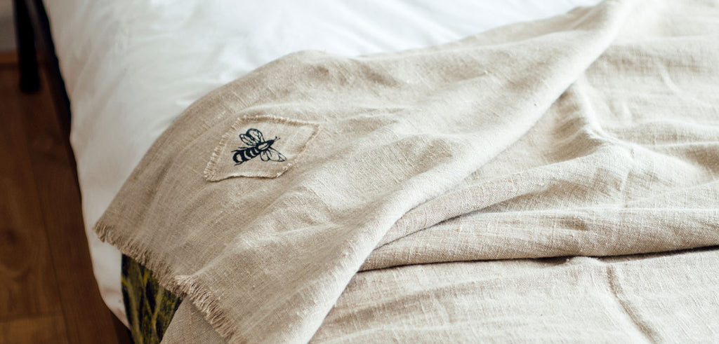Snuggle Up With Our Soft Linen Throw & Bee Cushion