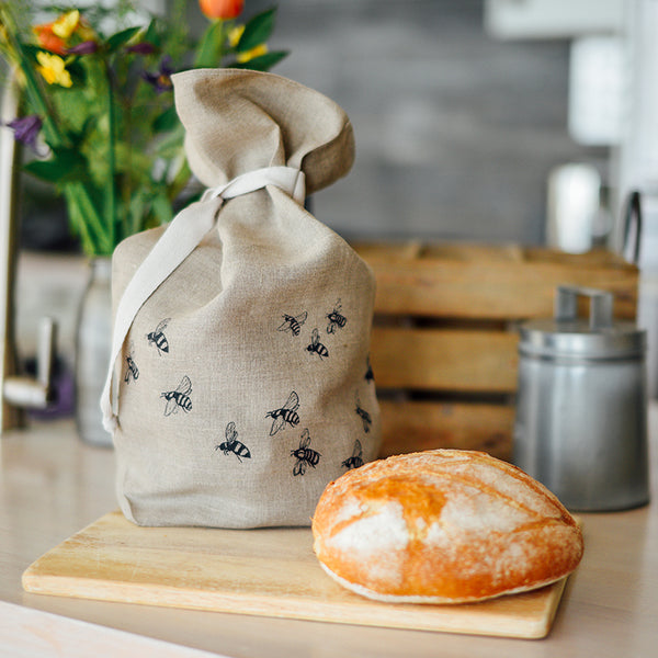Sourdough Loaf and Helen Round Bee Design Linen Bread Bag from the Honey Bee Collection in Natural Linen