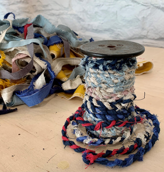 Fabric Twine from Linen Off Cuts by Helen Round