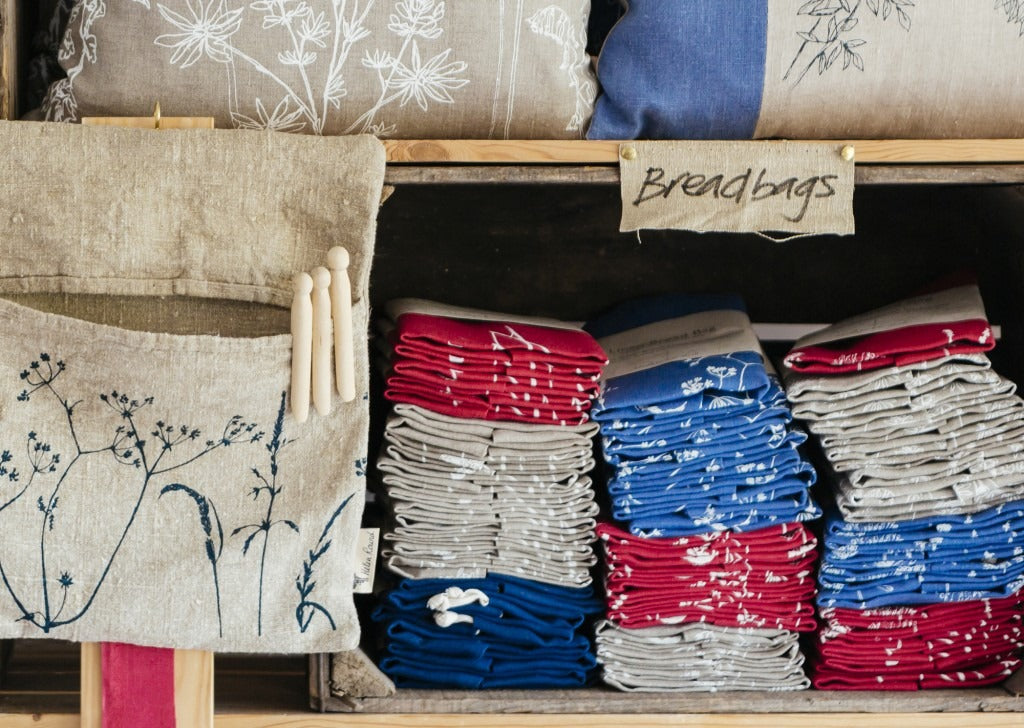 Linen Bread Bags - neatly stacked ready for orders