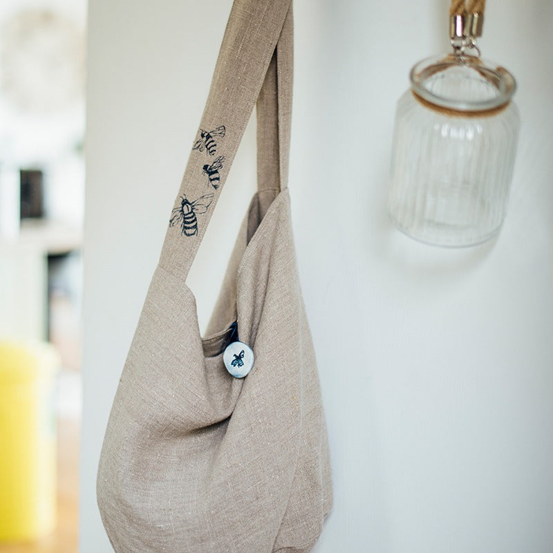 linen bucket bag with bees