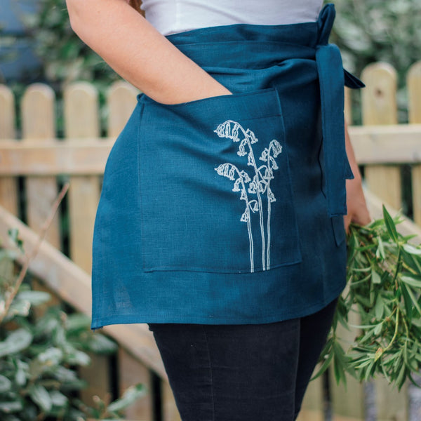 Half Apron with Bluebell design from the Bluebell Collection by Helen Round