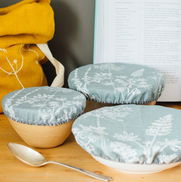 Duck Egg Blue Linen Bowl Covers, Set of Three from the Garden Collection by Helen Round