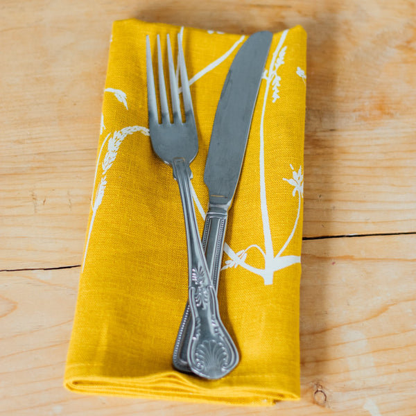 Mustard Linen Napkin from the Hedgerow Collection at Helen Round and cutlery