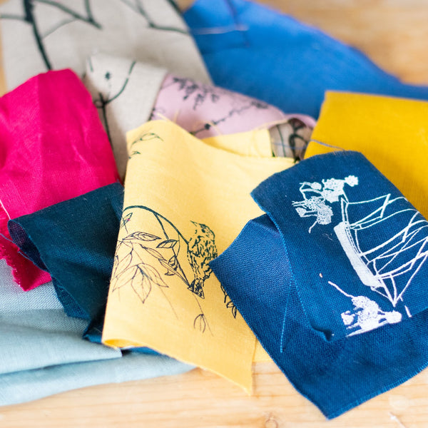 Linen Fabric Scraps Printed by Helen Round