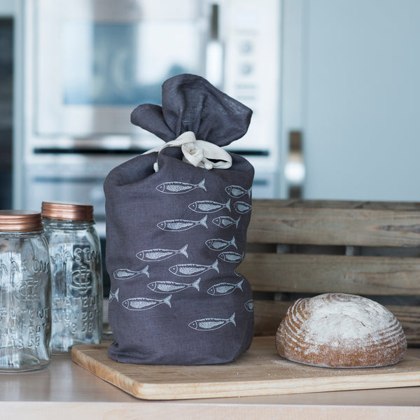 Slate Grey Linen Bread Bag from the Quayside Collection by Helen Round