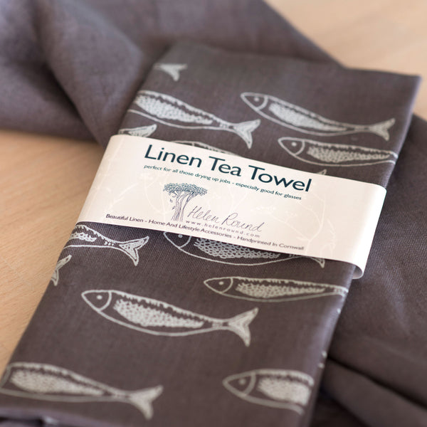 Linen Tea Towel from the Quayside Collection by Helen Round