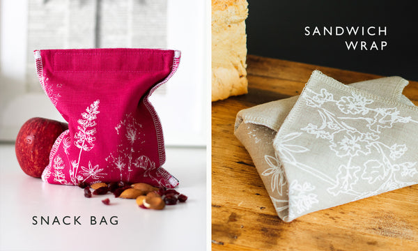 Helen Round Snack Bag in Raspberry Red and Sandwich Wrap in Neutral