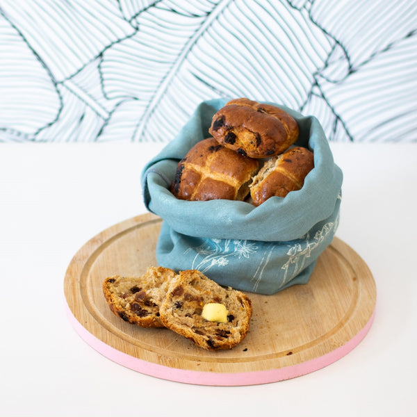 Bread Bag with Hot Cross Buns