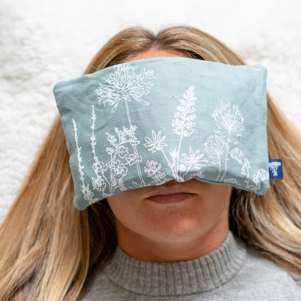 Helen Round Relaxing With Duck Egg Blue Eye Pillow from the Garden Collection