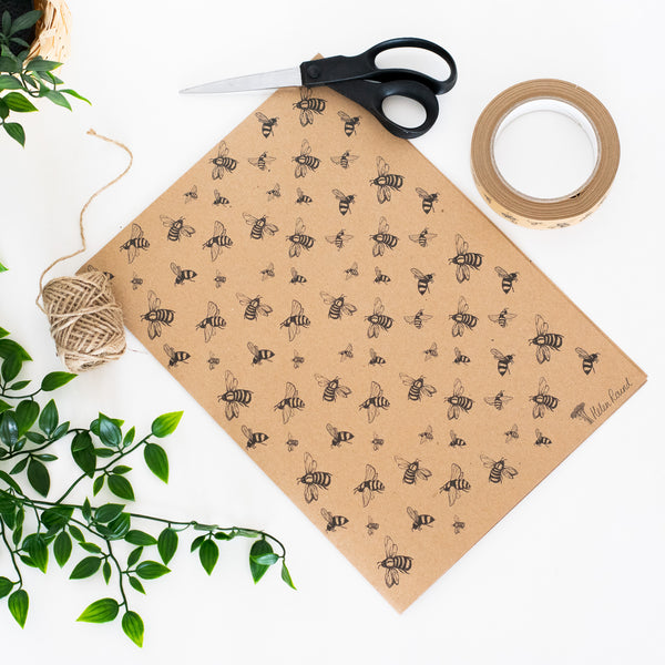 Bee Wrapping Paper in Natural from the Honey Bee Collection by Helen Round