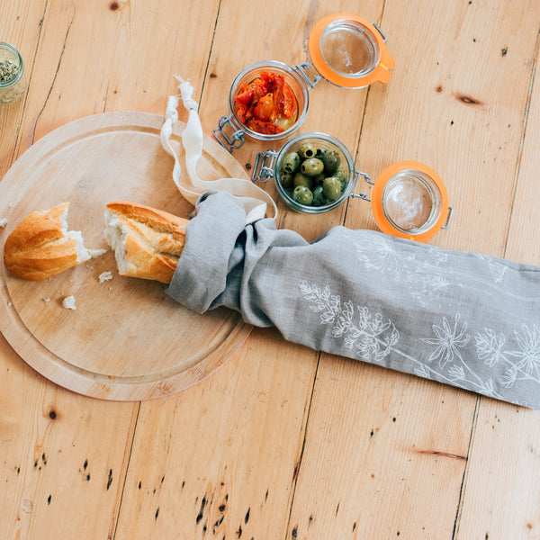 Natural Linen Baguette Bag from the Garden Collection by Helen Round