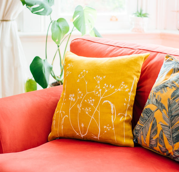 Hedgerow Design Cushion in Mustard from Helen Round