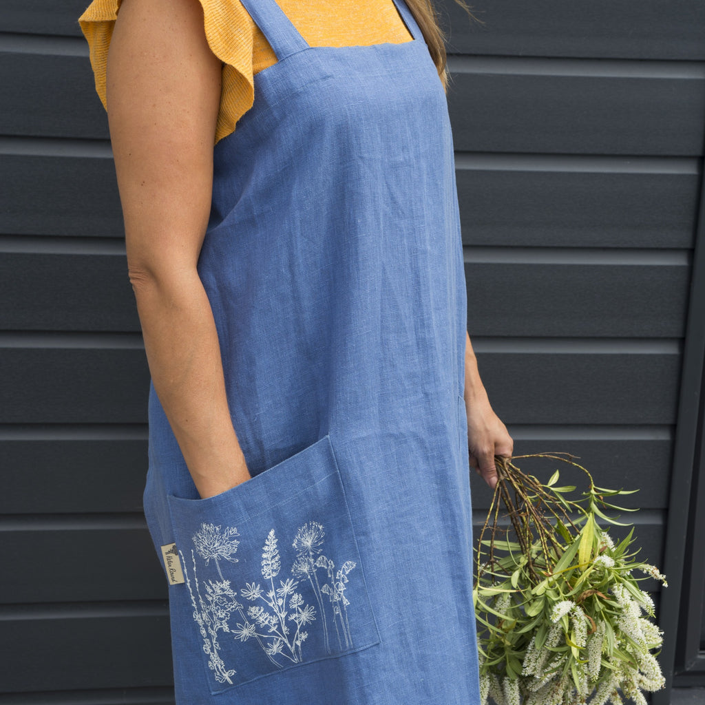 blue linen apron made in cornwall