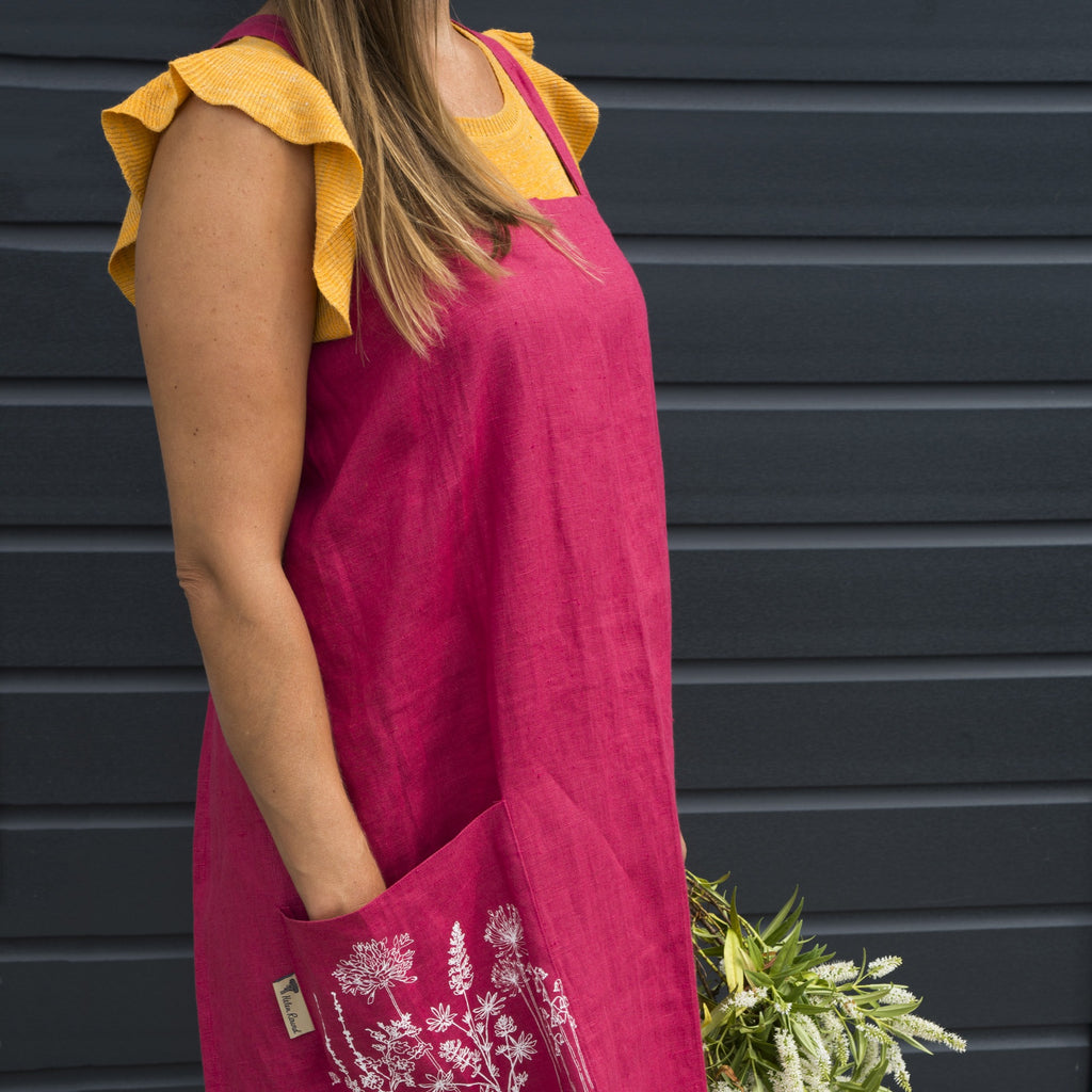 red linen long apron printed pocket flowers