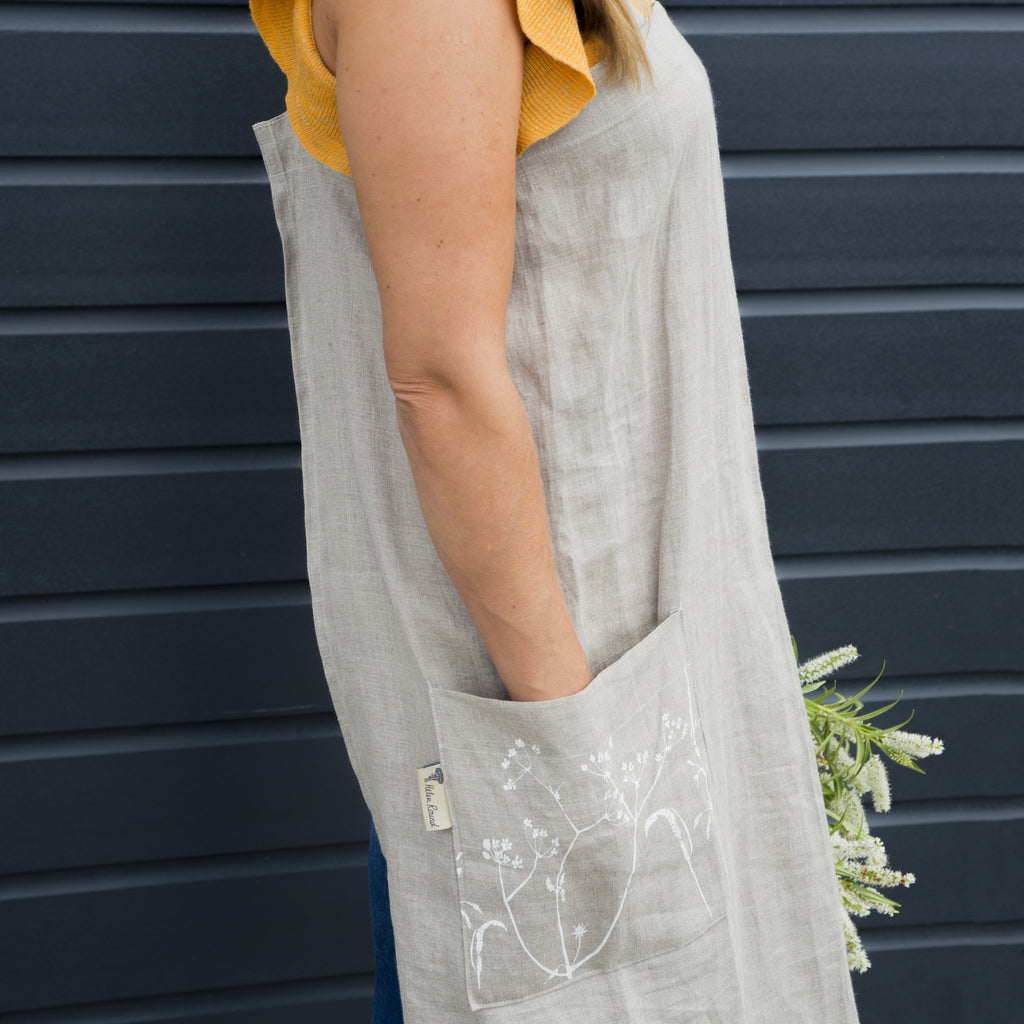 natural linen apron cross over