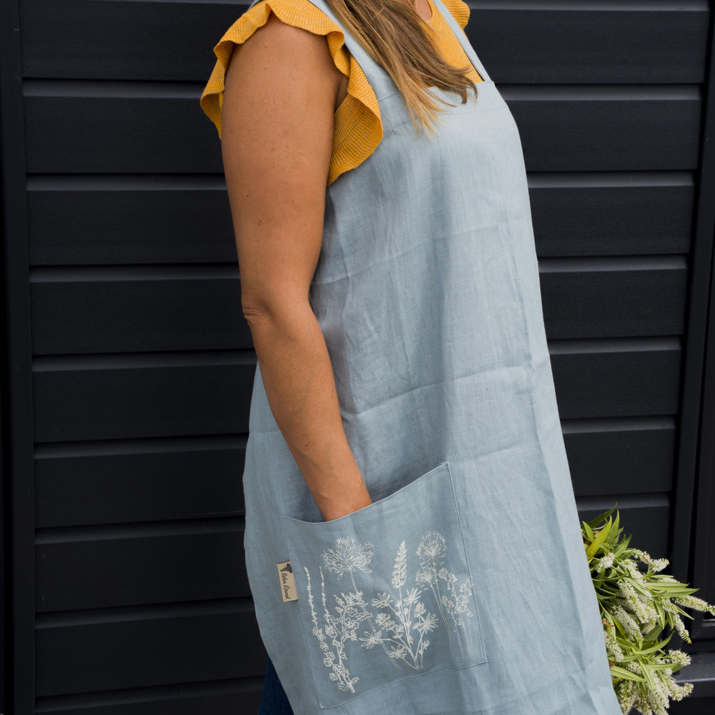 duck egg blue linen apron
