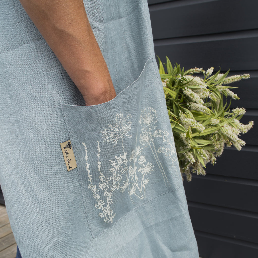 linen apron hand printed pocket flowers