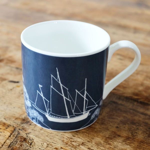 sailing boat mug bone china deep blue