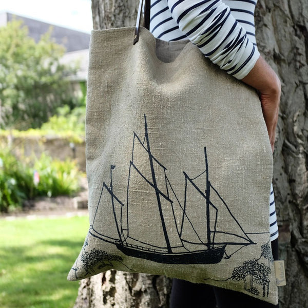 sailing boat tote bag leather handles