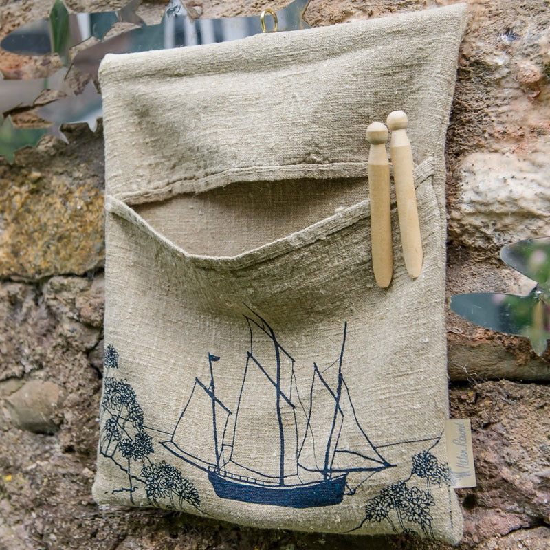 natural linen sailing boat peg bag