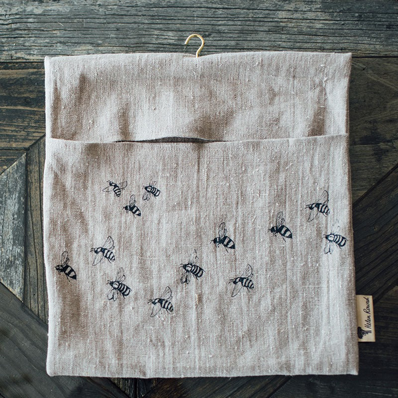 linen peg bag with bees