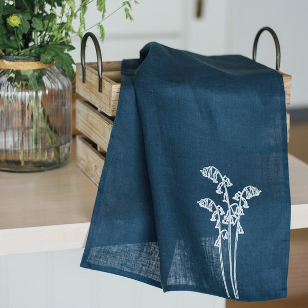Navy Blue Linen Tea Towel Bluebell Design