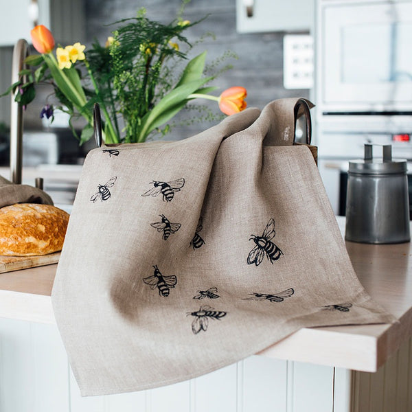 linen bee tea towel with bees