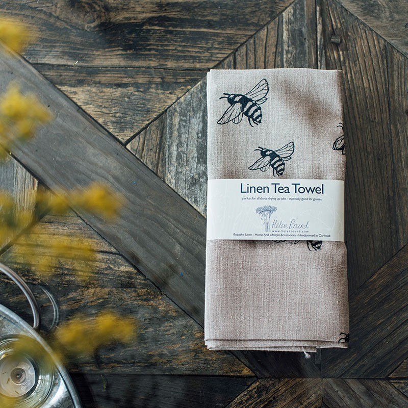 natural linen bee tea towel with bee design