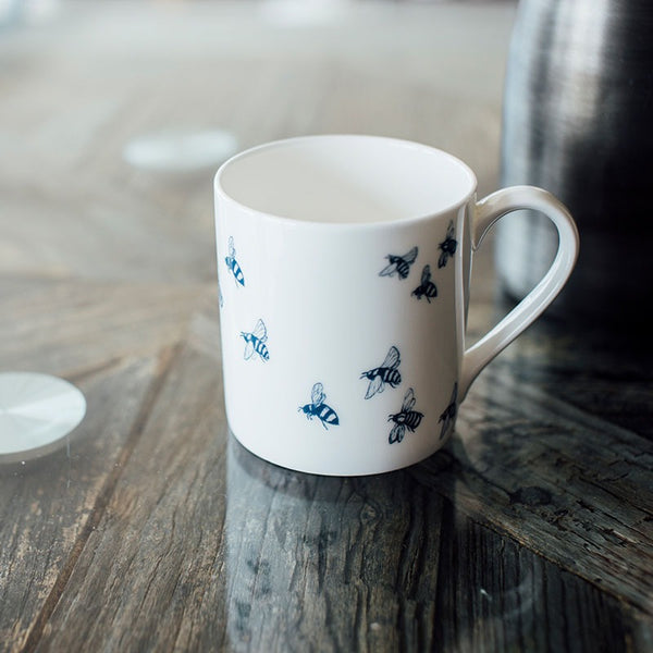 bee mug white bone china bee design