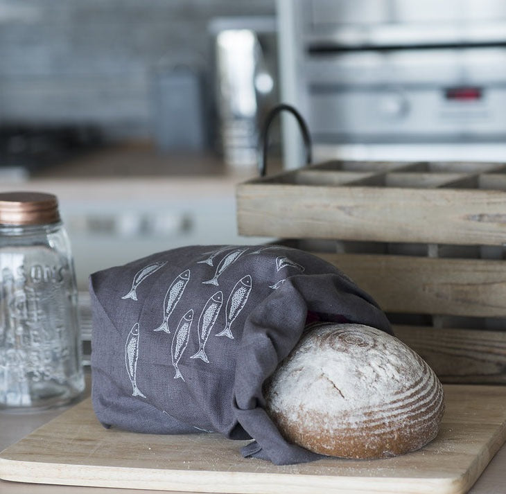 Eco Linen Bread Bag in slate grey with fish