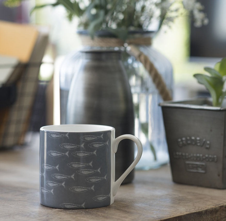Quayside grey mug with fish