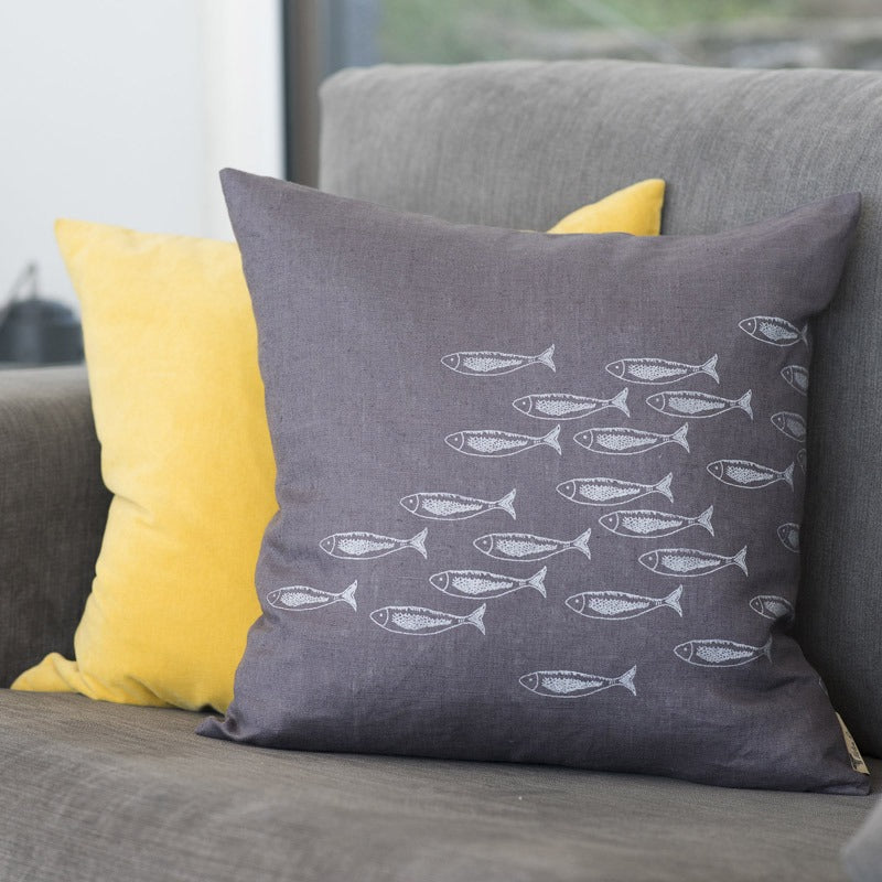 linen cushion in slate grey with fish Quayside design