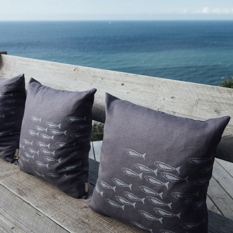 slate grey Quayside linen cushion with fish