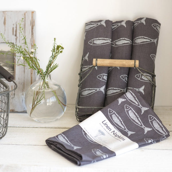linen fish napkins slate grey fish design hand printed set of two