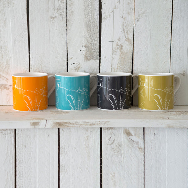 rame head mug collection of four bone china