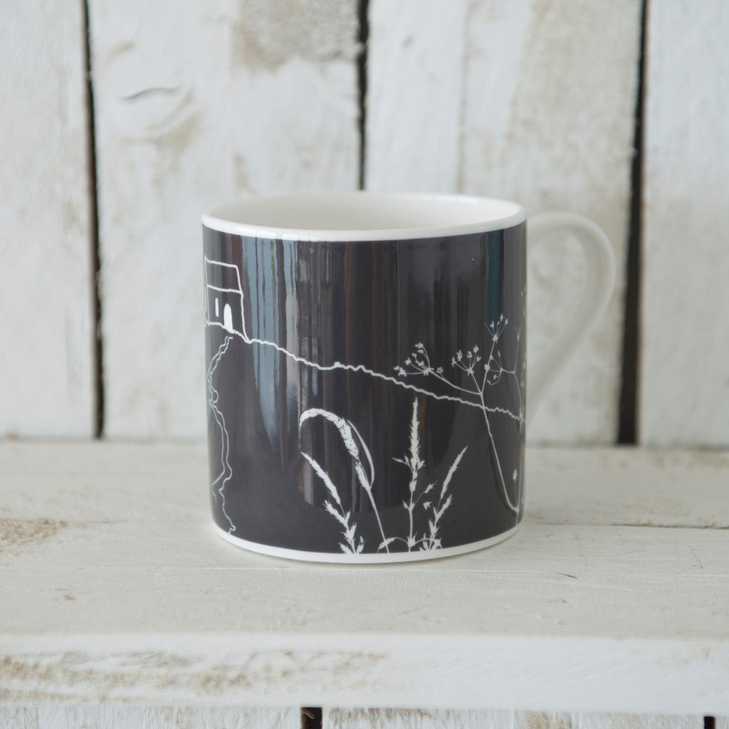 rame head mug black grey bone china
