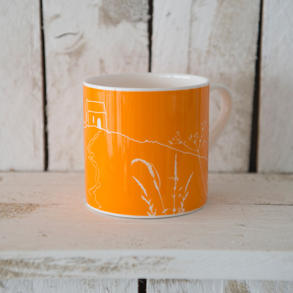rame head mug bright orange bone china