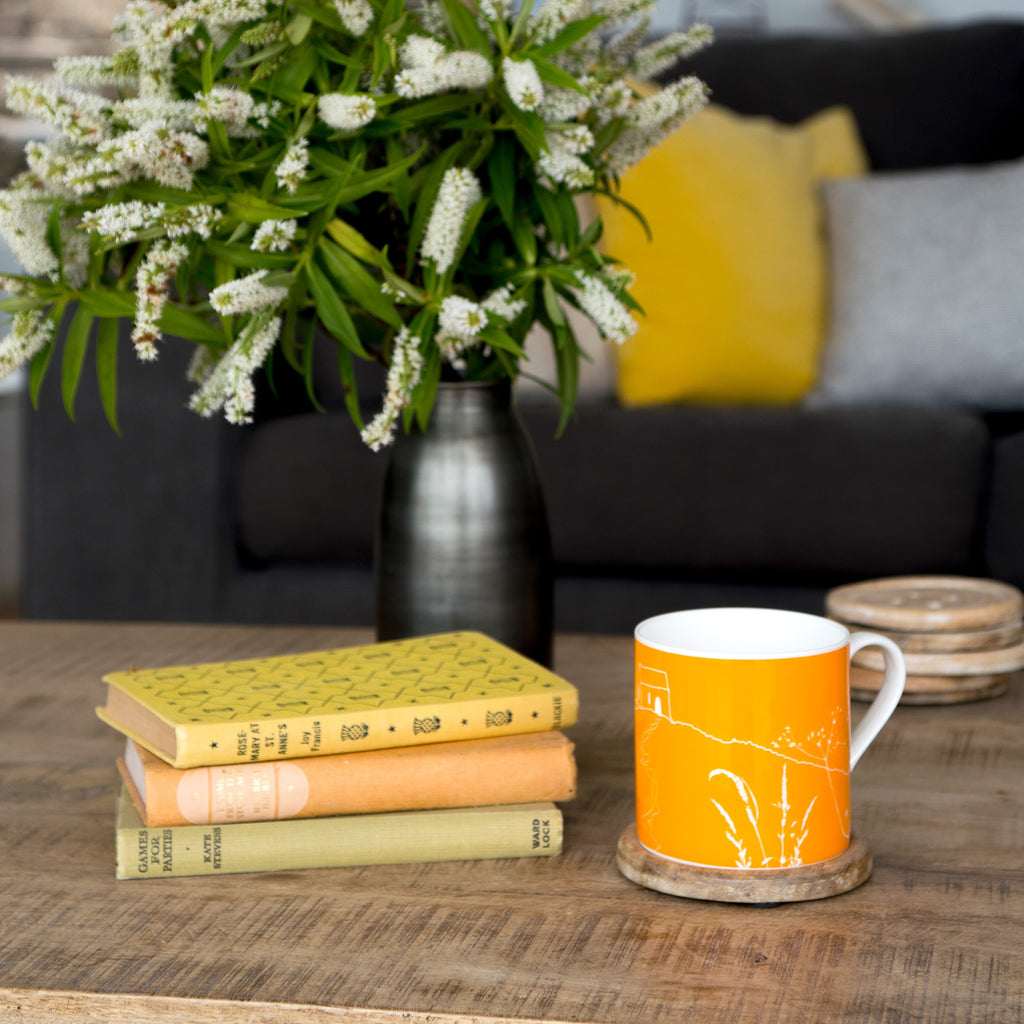 rame head mug orange bone china