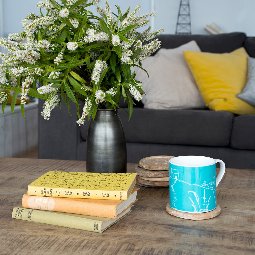 rame head mug turquoise blue bone china