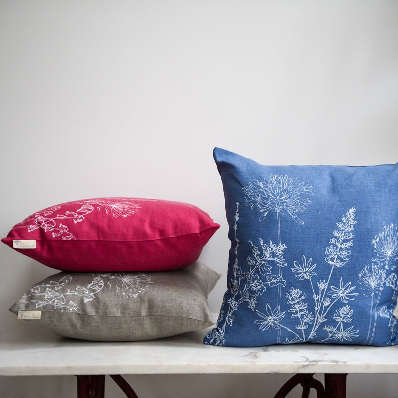 natural raspberry indigo hand printed floral linen cushions