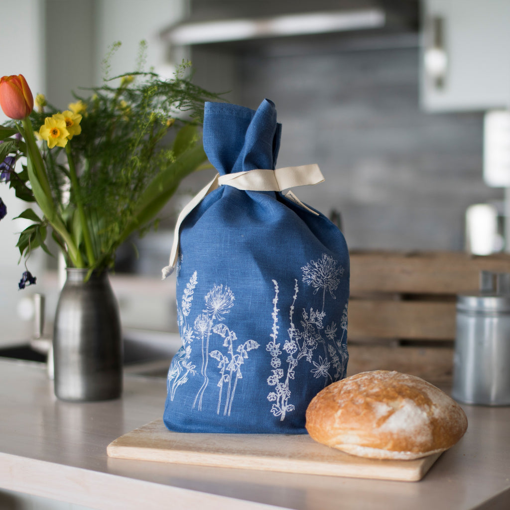 breathable linen bread bag indigo blue from the garden collection