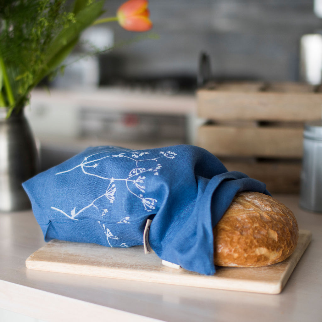 indigo blue linen bread bag hedgerow design