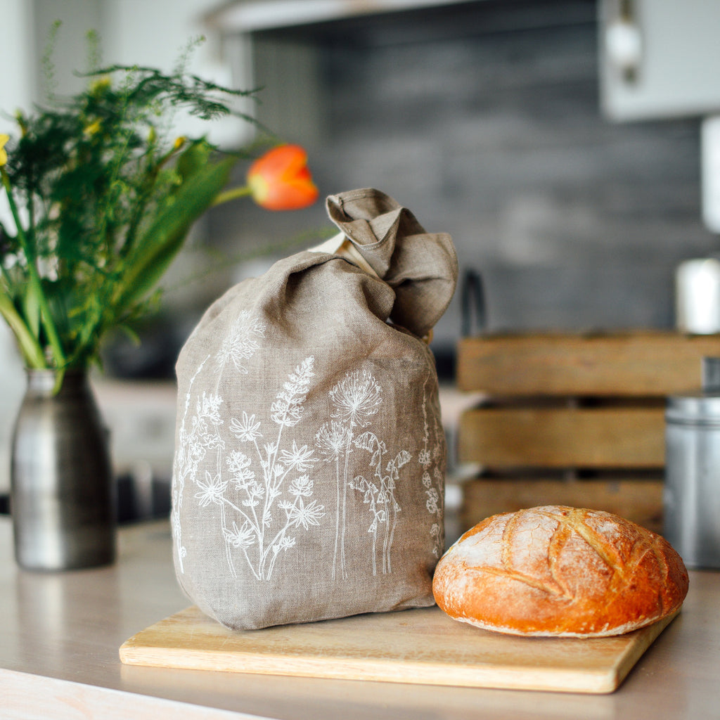 breathable linen bread bag natural linen from the garden collection