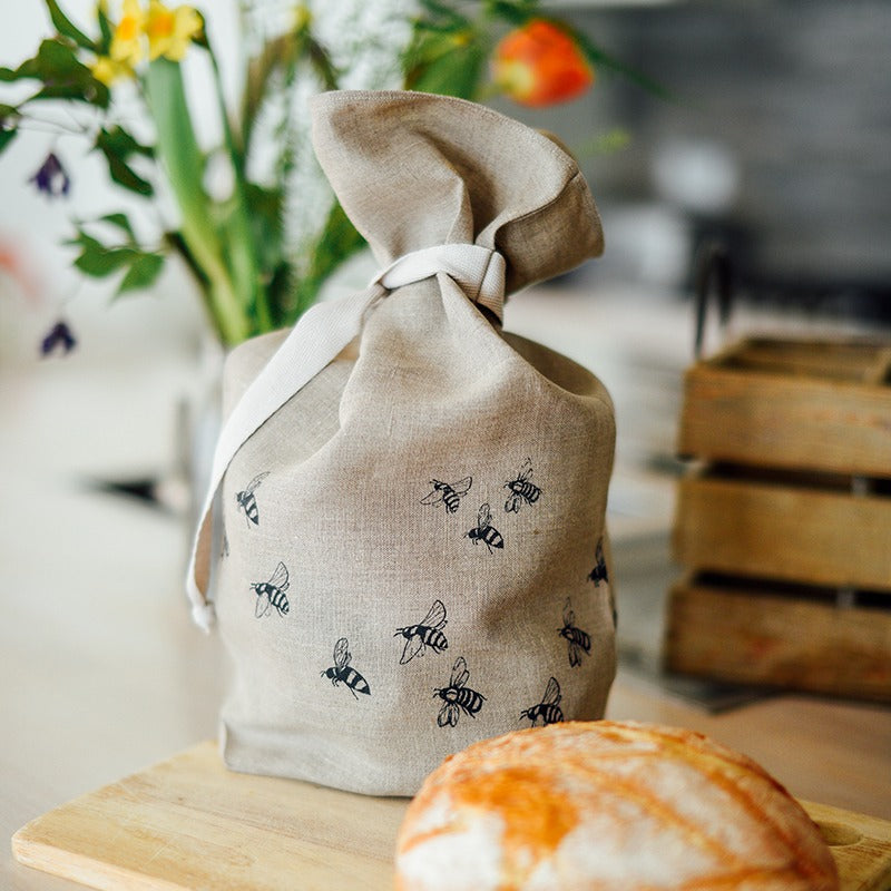 linen bread bag with bees