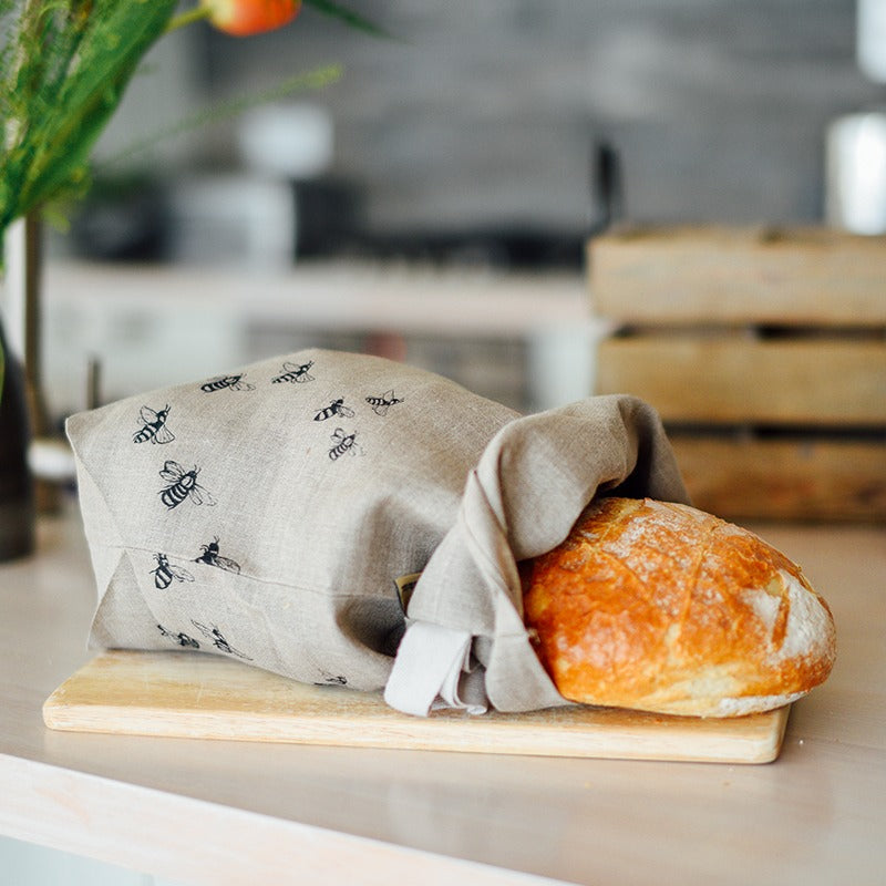 natural linen bee bread bag with bees