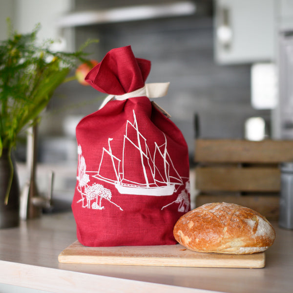 sailing boat pure linen bread bag raspberry linen