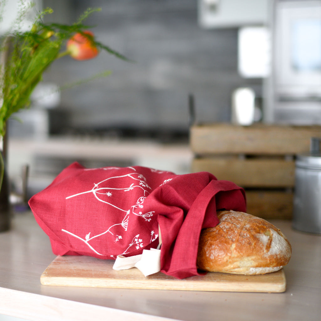 linen bread bag raspberry hedgerow design