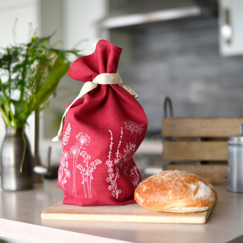 breathable linen bread bag raspberry red linen from the garden collection