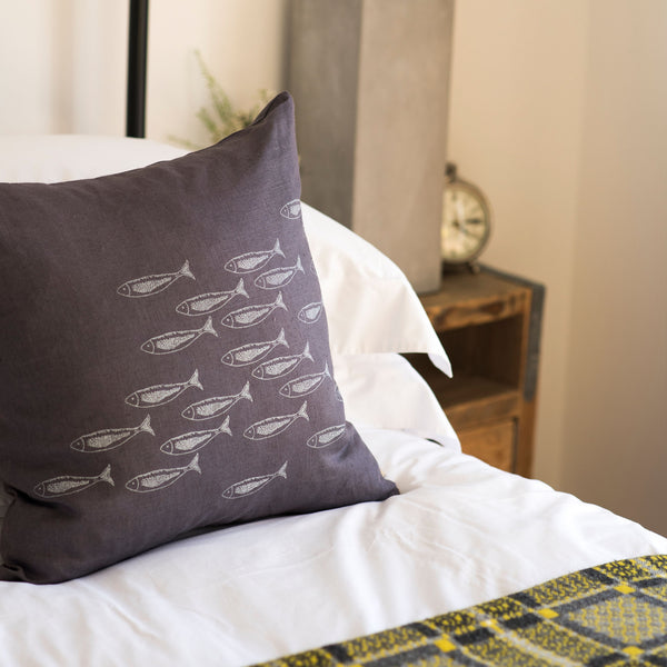 fish cushion grey linen silver fish 48cm x 48cm